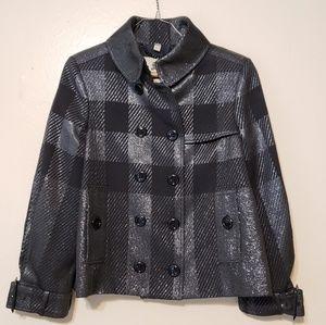Burberry black plaid nova check cropped jacket